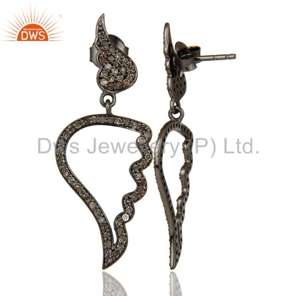 Suppliers Leaf Rame Design Diamond and Oxidized Sterling Silver Drop Earring