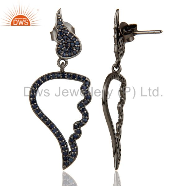 Suppliers Leaf Rame Design Blue Sapphire & Oxidized Sterling Silver Drop Earring