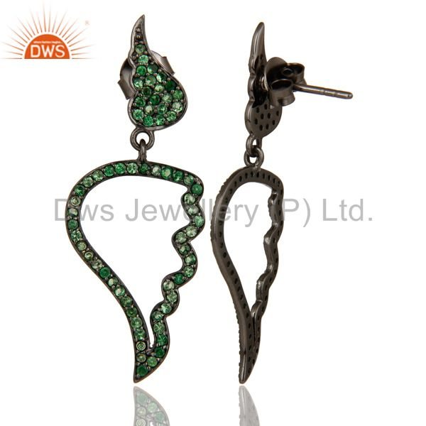 Suppliers Leaf Rame Design Tsavourite and Oxidized Sterling Silver Drop Earring