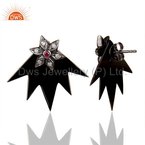 Suppliers Natural Diamond Ruby Two Way Star Earring Black Rhodium Plated Silver Earring
