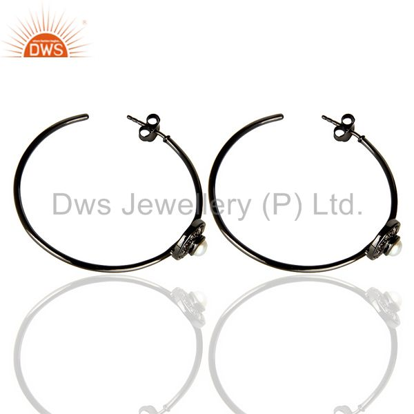 Suppliers Natural Diamond Black Rhodium Plated Pearl Hoop In 92.5 Solid Silver
