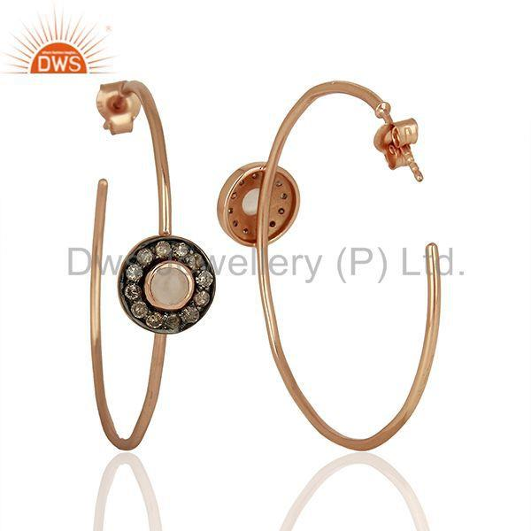 Suppliers Hadnmade Pave Diamond Rose Quartz Gemstone Hoop Earrings Supplier
