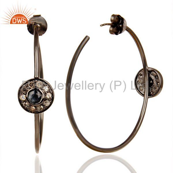 Suppliers Natural Diamond Black Rhodium Plated Sapphire Hoop In 92.5 Solid Silver