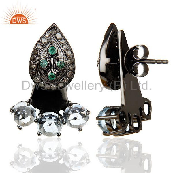 Suppliers Natural Diamond And Blue Topaz Double Jacket Earring,Two Way Earring