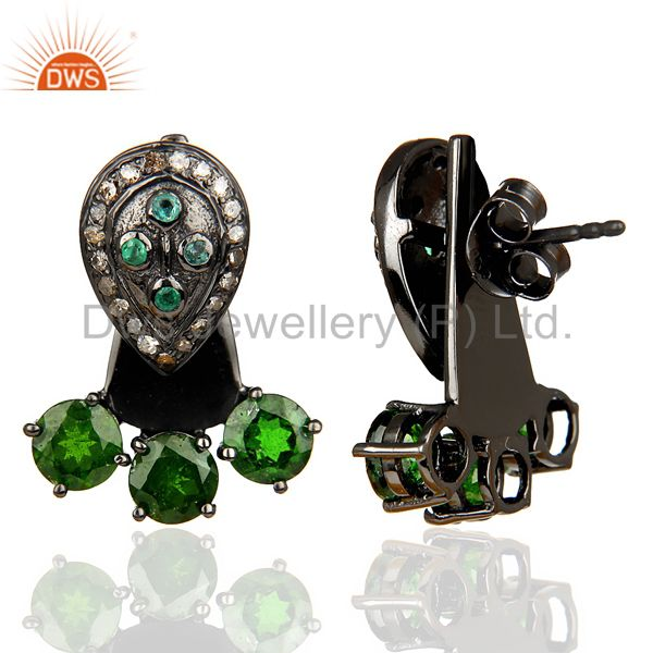 Suppliers Natural Diamond And Chrome Diopside Double Jacket Earring,Two Way Earring