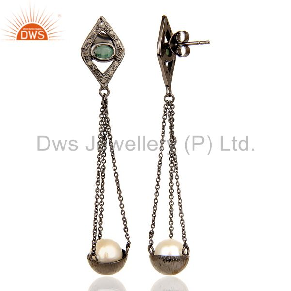 Suppliers Natural diamond And Pearl Dangle Earring,Long Emerald Earring