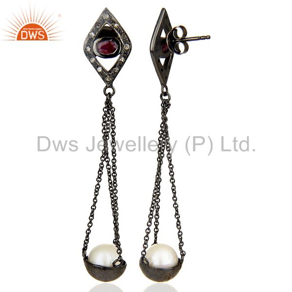 Suppliers Natural diamond And Pearl Dangle Earring,Long Ruby Earring