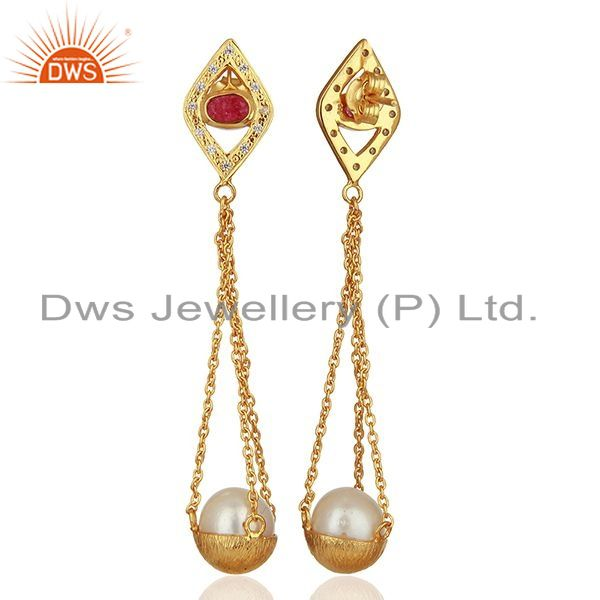 Suppliers Natural Pearl Gold Plated Silver Cz Gemstone Earring Manufacturer