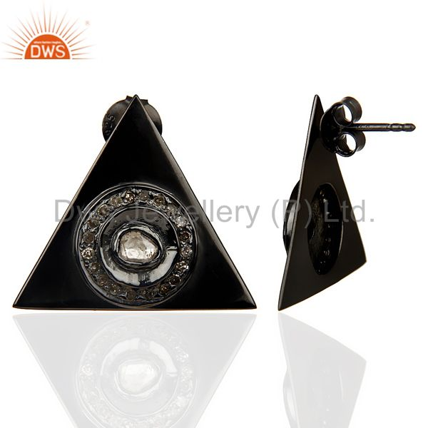 Suppliers Natural Diamond 20 MM Triangle Stud Earring Black Rhodium Plated In Silver
