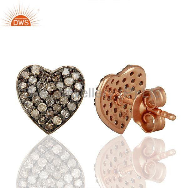 Suppliers Pave Set Diamond Black and Rose Gold Plated Silver Stud Earrings