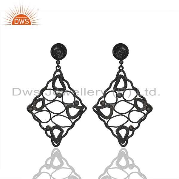 Suppliers Black Rhodium Plated 925 Silver Pave Diamond Earrings Manufacturer