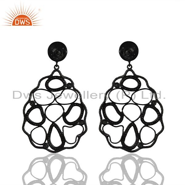 Suppliers 92.5 Silver Natural Ruby and Pave Diamond Birthstone Earring Wholesale