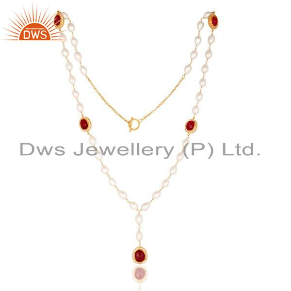 Suppliers 14K Gold Plated Sterling Silver Red Aventurine And Pearl Statement Necklace