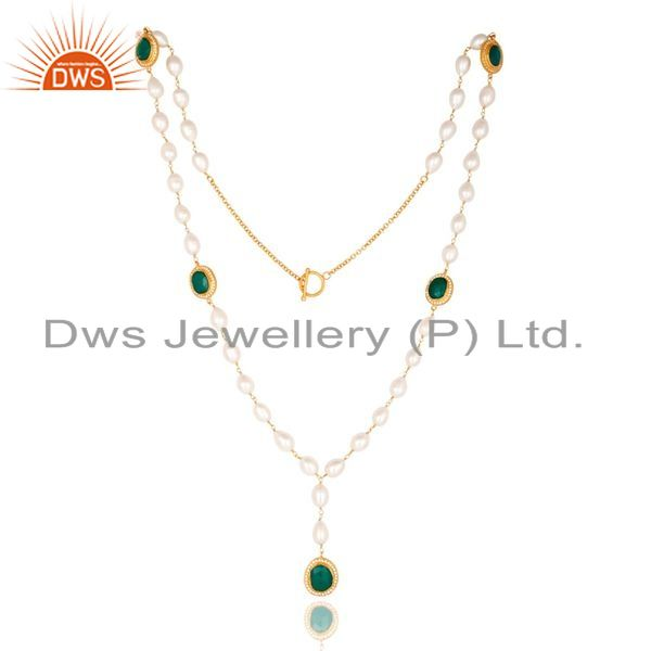 Suppliers 14K Yellow Gold Plated Sterling Silver Green Onyx And Pearl Statement Necklace