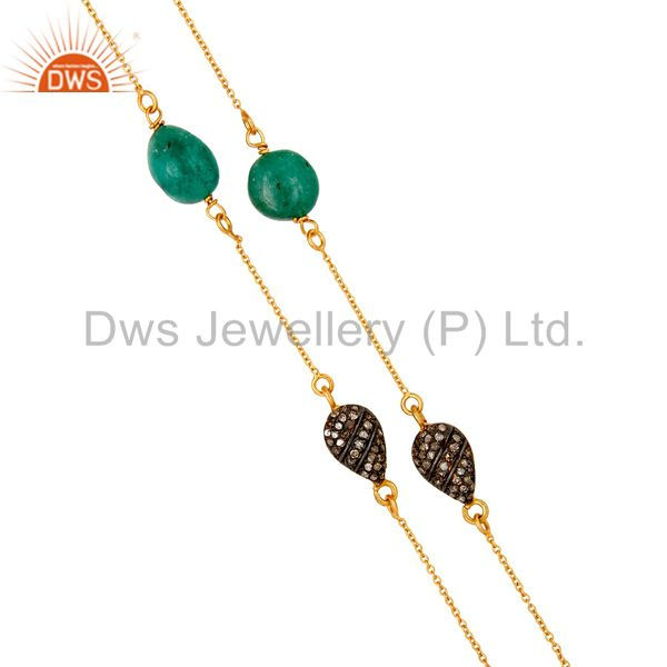 Suppliers 22K Gold Plated Sterling Silver Natural Emerald & Diamond 30