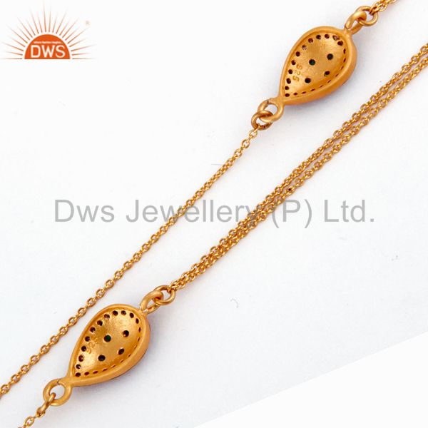 Suppliers 18k Yellow Gold Plate Pave Diamond Sterling Silver Emerald Double Chain Necklace