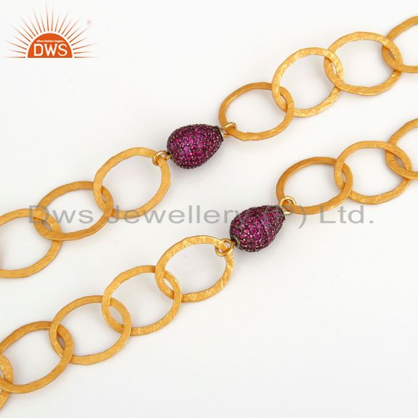 Suppliers 24k Gold Over Sterling Silver Double Chain Link Necklace With Pave Ruby Beads