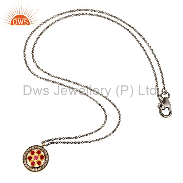 Suppliers Pave Diamond and Natural Ruby Sterling Silver Black Oxidized Round Pendant