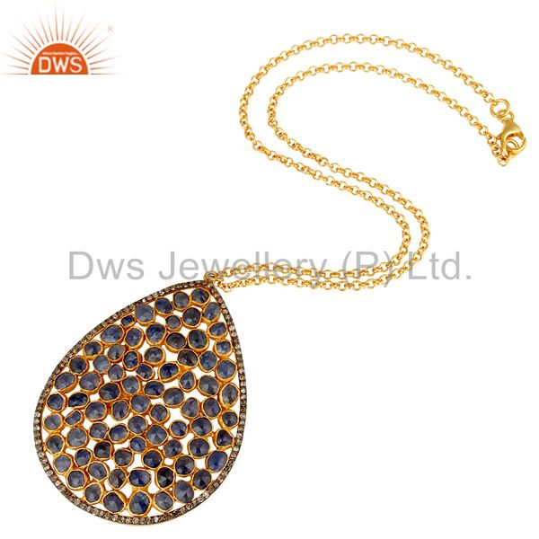 Suppliers Diamond and Blue Sapphire 18K Gold Plated Sterling Silver Necklace
