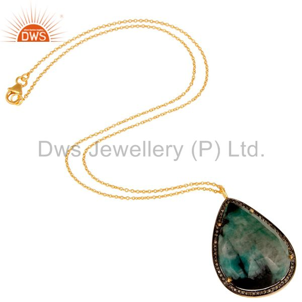 Suppliers 18K Yellow Gold Sterling Silver Emerald And Pave Diamond Pendant With Chain