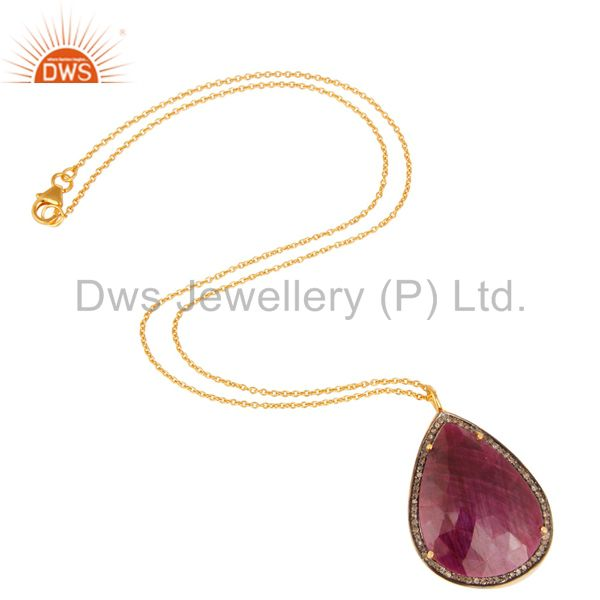 Suppliers 18K Yellow Gold Sterling Silver Natural Ruby And Pave Diamond Pendant With Chain
