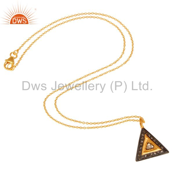 Suppliers 18K Yellow Gold Plated Sterling Silver Natural Rose Cut Diamond Pendant Necklace