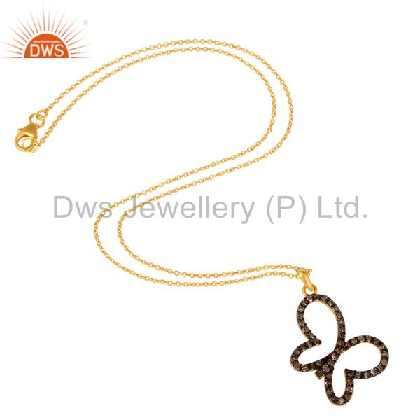 Suppliers Pave Diamond Set 18K Gold Plated Sterling Silver Butterfly Pendant Necklace