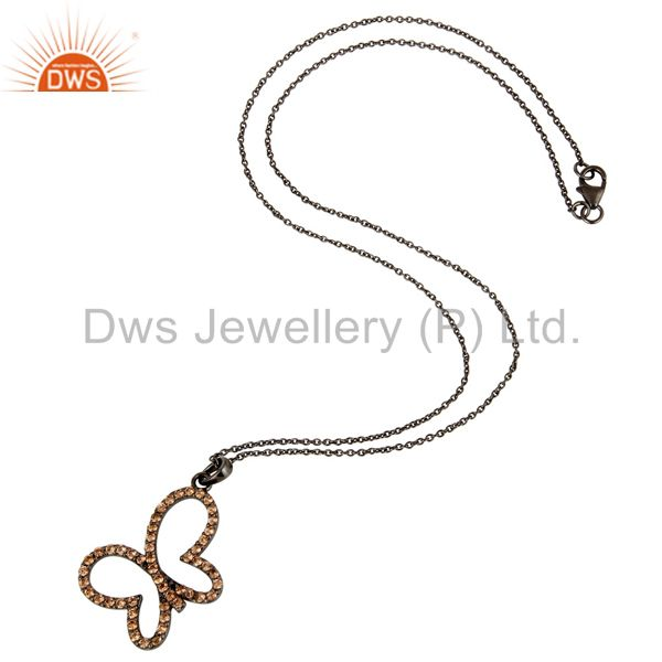 Suppliers Spessartite Set 18K Gold Plated Sterling Silver Butterfly Chain Pendant Necklace
