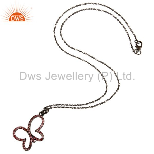 Suppliers Black Oxidized Sterling Silver Pink Tourmaline Butterfly Chain Pendant Necklace
