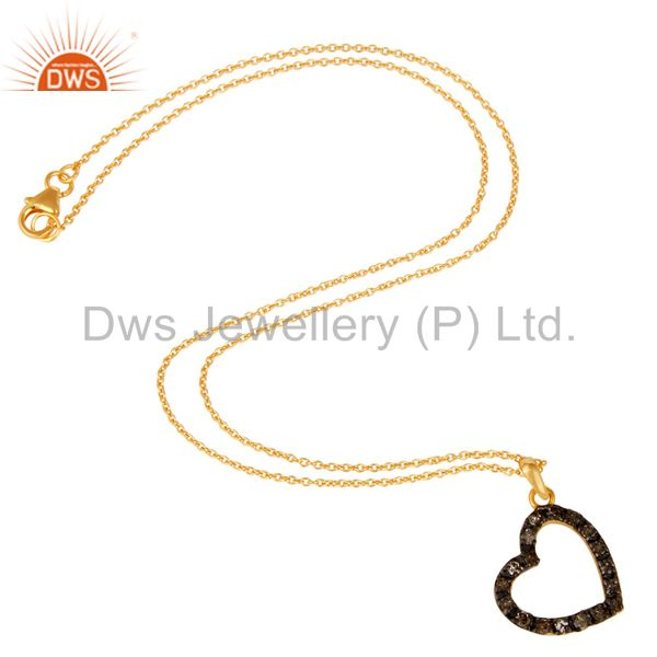 Suppliers Pave Diamond Set Heart Shape 18K Gold Plated Sterling Silver Pendant Necklace