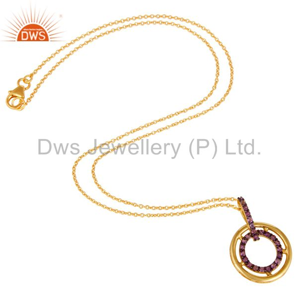 Suppliers Amethyst 18K Gold Plated Sterling Silver Gemstone Pendant Necklace