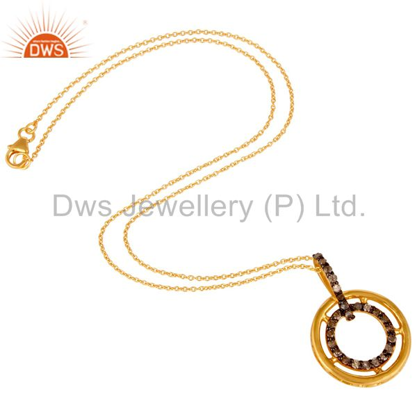 Suppliers Diamond 18K Gold Plated Sterling Silver Gemstone Pendant Necklace