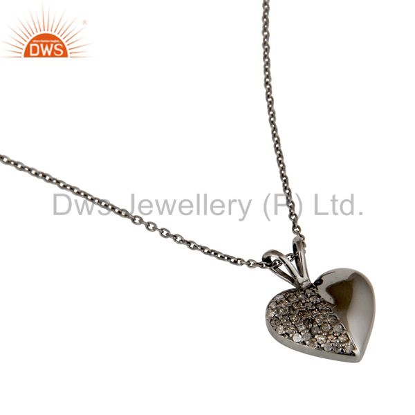 Suppliers Black Oxidized With Diamond Cut Sterling Silver Gemstone Pendant Necklace