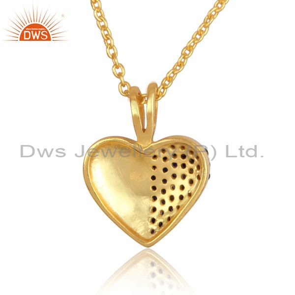 Suppliers Blue Sapphire 18K Gold Plated Sterling Silver Heart Shape Pendant Necklace