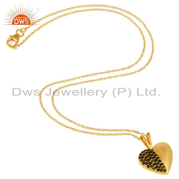 Suppliers Green Tourmaline 18K Gold Plated Sterling Silver Heart Shape Pendant Necklace