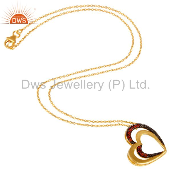 Suppliers 18K Gold Plated Sterling Silver Garnet Heart Shape Pendant Necklace