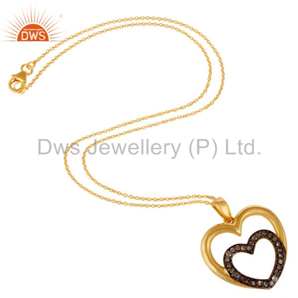 Suppliers Heart Shape Diamond and 18K Gold Plated Sterling Silver Pendant Necklace