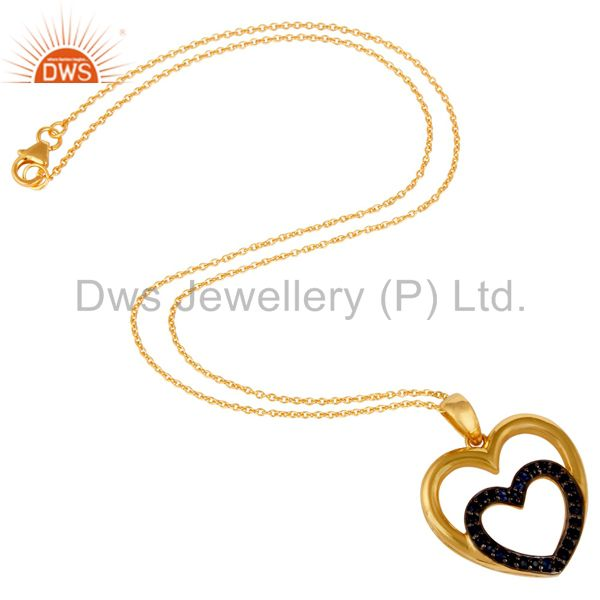Suppliers Heart Shape Blue Sapphire and 18K Gold Plated Sterling Silver Pendant Necklace