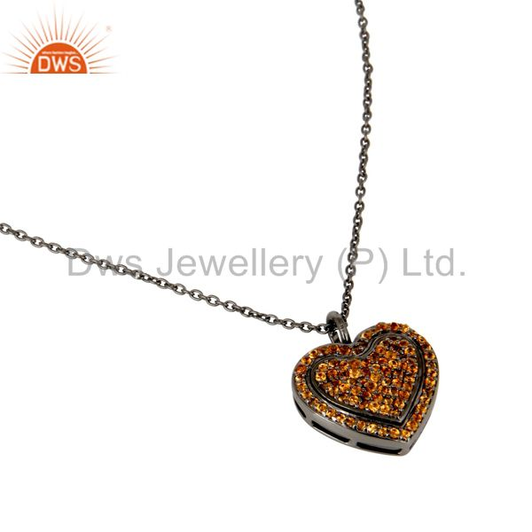 Suppliers Spessartite Heart Shape Pendant 925 Sterling Silver Necklace