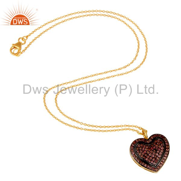 Suppliers Pink Tourmaline Heart Shape Pendant 18K Gold Plated Sterling Silver Necklace