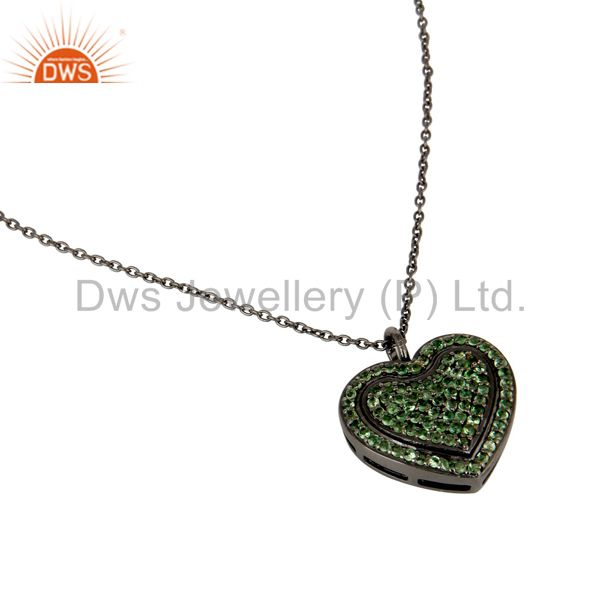 Suppliers Tsavourite Heart Shape Pendant 925 Sterling Silver Necklace