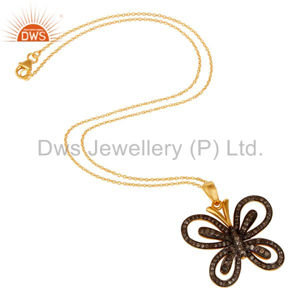 Suppliers Diamond and 18K Gold Plated Sterling Silver Butterfly Pendant Necklace