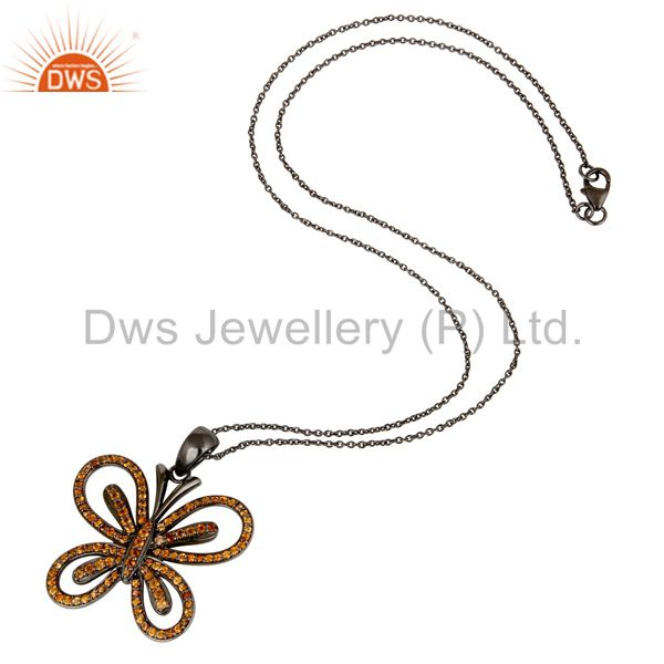 Suppliers Spessartite 18K Gold Plated Sterling Silver Butterfly Chain Pendant Necklace