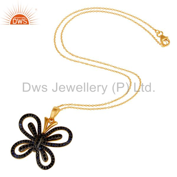 Suppliers Blue Sapphire and 18K Gold Plated Sterling Silver Butterfly Pendant Necklace