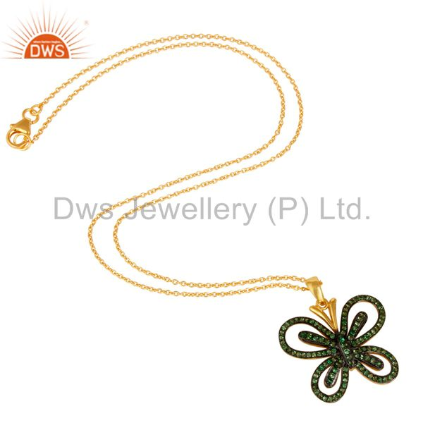 Suppliers Tsavourite and 18K Gold Plated Sterling Silver Butterfly Pendant Necklace