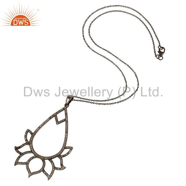 Suppliers Black Oxidized Sterling Silver Diamond Lotus Design Chain Pendant Necklace