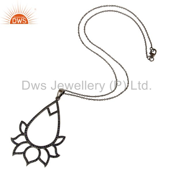 Suppliers Black Oxidized Sterling Silver Blue Sapphire Lotus Style Chain Pendant Necklace