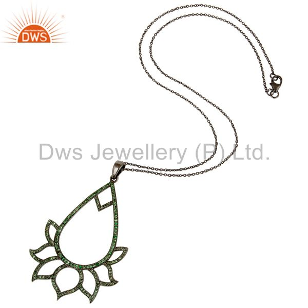 Suppliers Black Oxidized Sterling Silver Tsavourite Lotus Style Chain Pendant Necklace