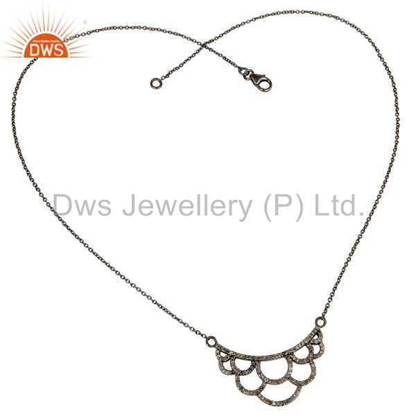 Suppliers 925 Sterling Silver Oxidized Handmade Crown Design Pave Diamond Pendant Jewelry