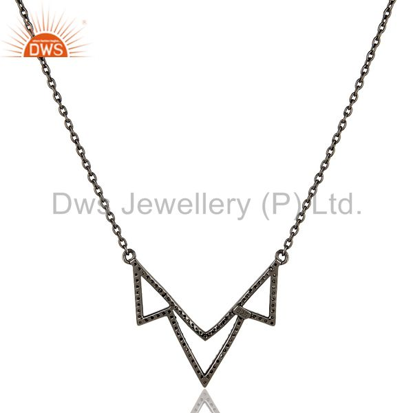 Suppliers Black Oxidized Diamond Round Cut Sterling Silver Crown Chain Pendant Necklace